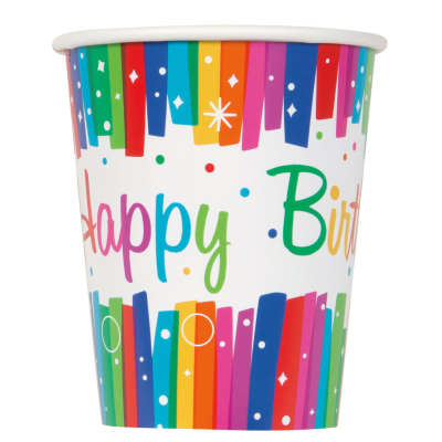 Rainbow Happy Birthday 9oz Cups | Pack of 8