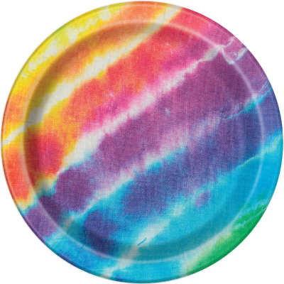 "Colourful Tie Dye 9"" Plates 