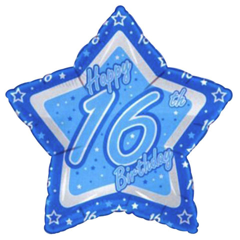 Multiple Designs - Foil Star Blue Milestone Birthday Balloons | 18""