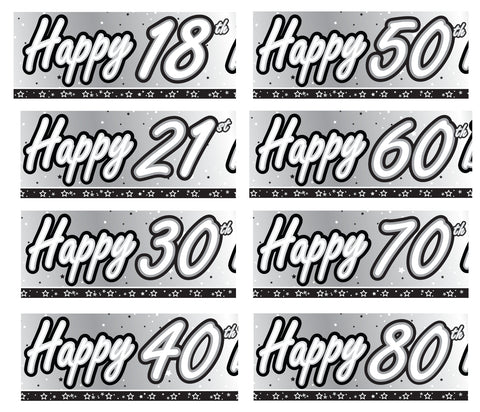 Multiple Designs - Black & Silver 'Age' Birthday Foil Banners | 9ft