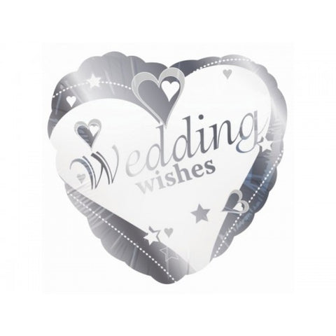 Wedding Wishes Silver Heart Balloon | 18""