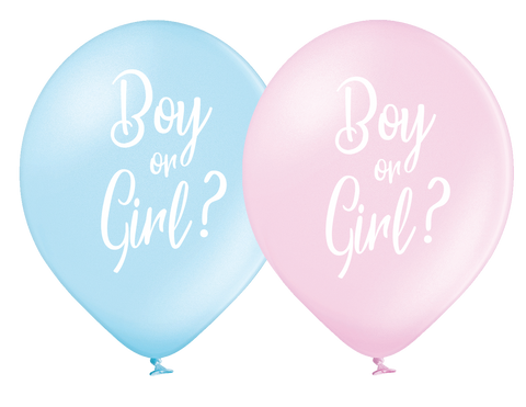 Latex Preprinted Gender Reveal Balloons | 12""