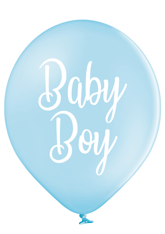 Latex Preprinted Baby Boy Script Balloons | 12""