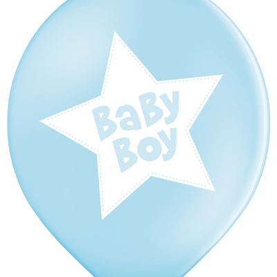 Latex Preprinted Baby Boy Star Balloons | 12""