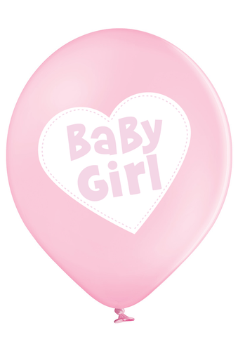 Latex Preprinted Baby Girl Heart Balloons | 12""