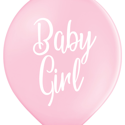 Latex Preprinted Baby Girl Script Balloons | 12""