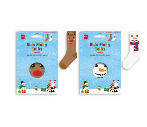Kids Christmas Fluffy Socks (Choice of 2 Designs)