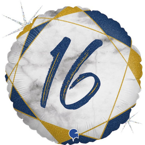Navy and Gold 16th Marble Foil Balloon | S40