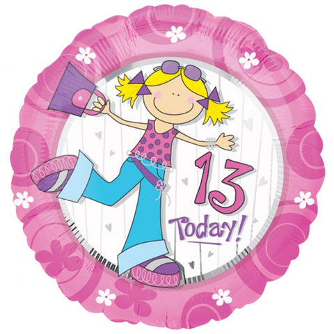 Foil Round Girl 13 Today Balloon | 18""