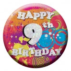 Happy 9th Birthday Badge | 55mm