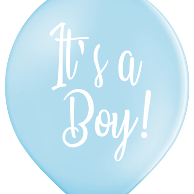 Latex Preprinted It's A Boy Script Balloons | 12""