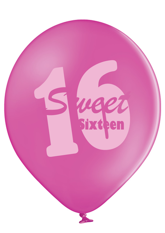 Latex Preprinted Sweet 16 Balloons | 12""