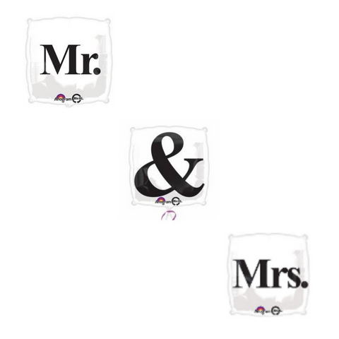 Mr, Mrs, & Options - Square Wedding Balloons | 18""