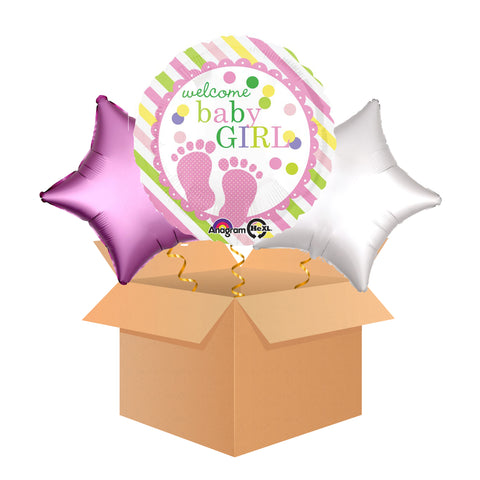 Welcome Baby Girl - Balloon in a Box