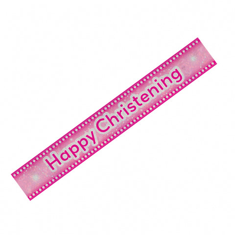 Happy Christening Pink Banner | 9ft