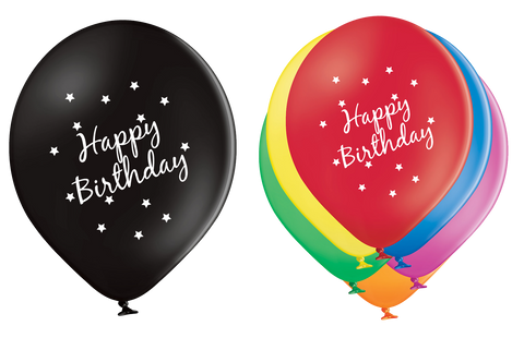 Latex Preprinted Happy Birthday Balloons | 10""