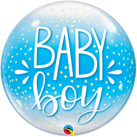 Bubble Message Baby Boy Confetti Dots Balloon | 22""