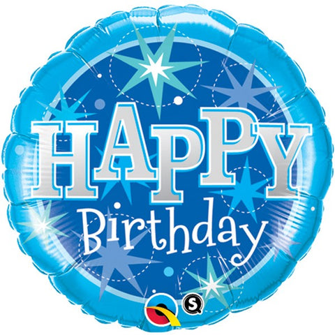 Blue Explosion Birthday Foil Balloon  | 18"