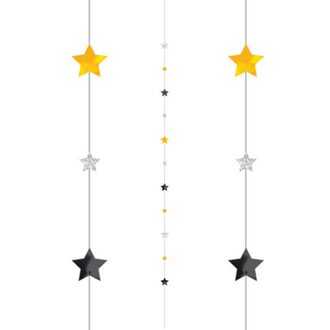 Black, Silver & Gold Stars Fun String | 1.82m