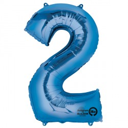 Foil Numbers Metallic Blue Balloons | 34""