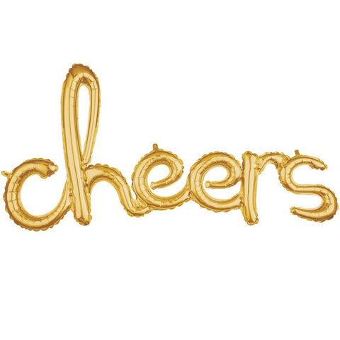 "Balloon Banner Script Gold ""cheers"" 