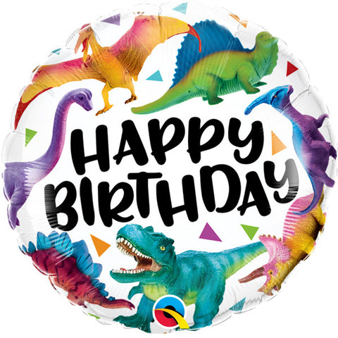 Foil Round Happy Birthday Colourful Dinosaur Balloon | 18""