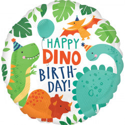 Click & Collect Foil Round Happy Dino Birthday Balloon | 18""