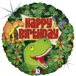 Click & Collect Foil Round Happy Birthday Dinosaur Balloon | 18""