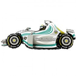 Foil Shape Formula 1 Car White Balloon