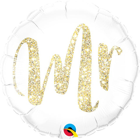 Mrs & Mrs Options - Foil Round Gold Glitter Balloons | 18""