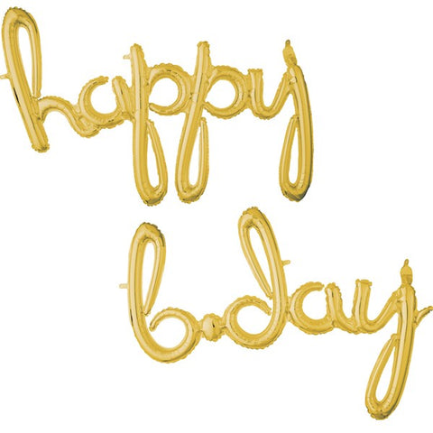 "Balloon Banner Script Gold ""happy b.day"" 