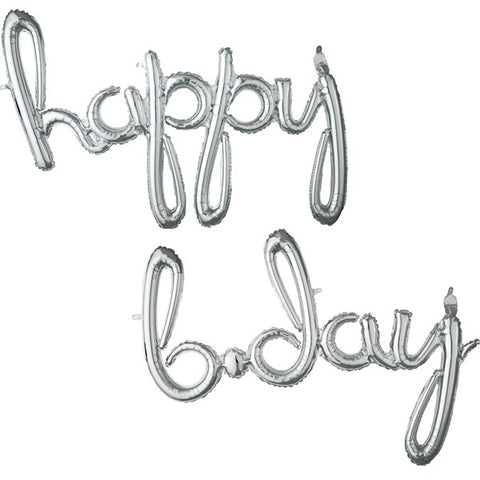 "Balloon Banner Script Silver ""happy b.day"" G40 