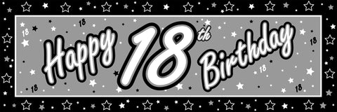 Black & Silver Birthday Banners | 5ft