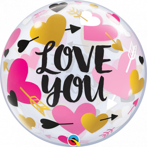 "Hearts and Arrows Love You 22"" Balloon Bubble"
