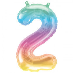 Foil Numbers Jelli Rainbow Ombre Balloons | 16""