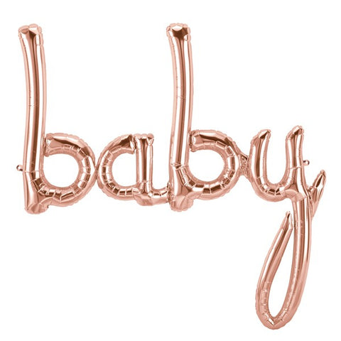 "Balloon Banner Script Rose Gold ""baby""