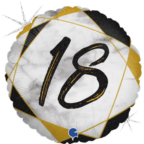Black and Gold 18th Marble Foil Balloon | S40