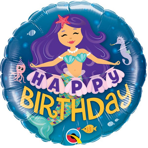 Foil Round Mermaid Wishes Happy Birthday Balloon | 18""
