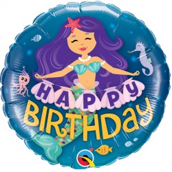 Happy Birthday Mermaid Balloon | 18""