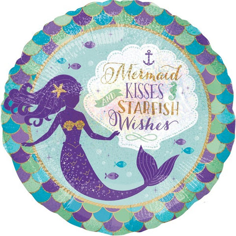 Foil Round Mermaid Kisses Starfish Wishes Balloon | 18""