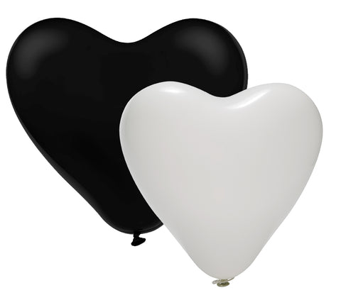 New Year's Latex Heart Black & White Balloons Pack | 12""