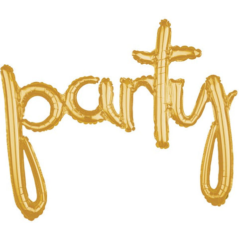 "Balloon Banner Script Gold ""party"" G40 