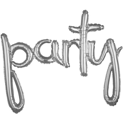 "Balloon Banner Script Silver ""party"" G40 