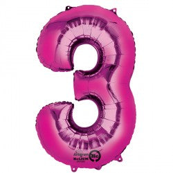 Foil Numbers Metallic Pink Balloons | 34""