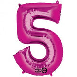 Foil Numbers Metallic Pink Balloons | 16""