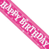 Multiple Designs - Pink Sparkle Birthday Banners | 2.6m