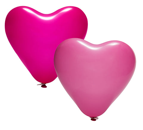 Latex Heart Fuchsia & Pink Balloons Pack | 12""
