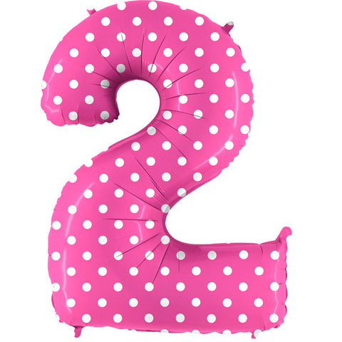 Foil Numbers Pois Pink Balloons | 40""