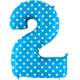 Foil Numbers Pois Turquoise Balloons | 34""