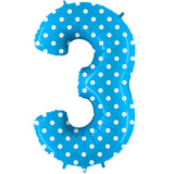 Foil Numbers Pois Turquoise Balloons | 40""